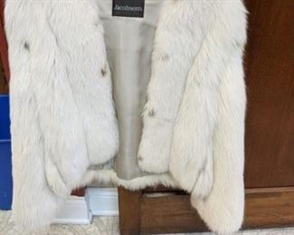 beautiful white fox jacket