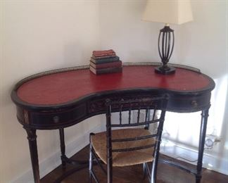 Antique kidney shaped desk with leather top and chair