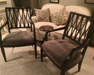 Century Chairs with Custom Fabric. Restoration Hardware Table.