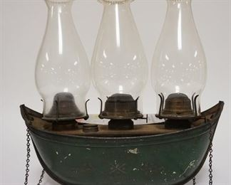1001  TIN BOAT SHAPED TRIPLE HANGING LAMP. MARKED CHICAGO WITH 1870 PATENT DATE. 14 IN WIDE