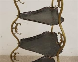 1003  BRASS FRAMED STAND WITH 3 EMBOSSED TRIANGULAR COPPER TRAYS. 37 IN H