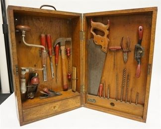 1005   HAMMACHER SCHLEMMER TOOL KIT IN ORIGINAL MACHINE DOVETAILED WOODEN BOX.