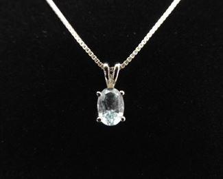 .925 Sterling Silver Oval Cut Topaz Pendant Necklace