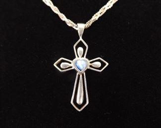 .925 Sterling Silver Blue Chrysoberyl Heart Cross Pendant Necklace