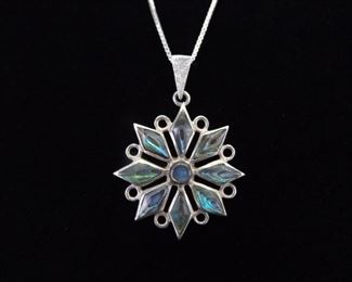 .925 Sterling Silver Abalone Star Pendant Necklace