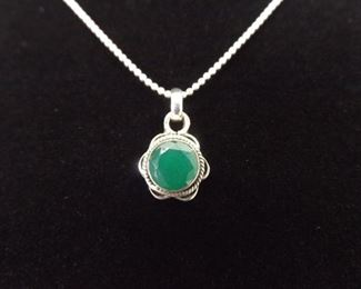 .925 Sterling Silver Faceted Jade Pendant Necklace