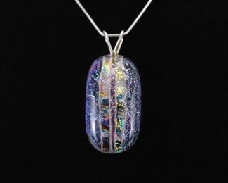 .925 Sterling Silver Purple Dichroic Pendant Necklace