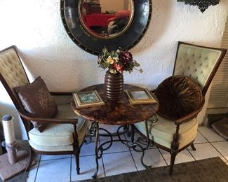 2 Chairs 1960's  $95  Bistro table $60