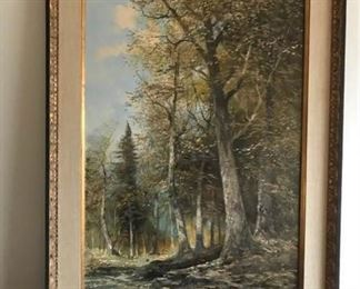 Beautiful landscape original painting by Artist J. Kugler (1913-2011).  Acrylic on canvas with custom frame.  This Austrian artist is known for his forest, alpine, coastal and landscape paintings.  The painting measures 31 inches W X 43 inches H.  The painting itself measures 24 inches W X 36 inches L.  This item has a Reserve bid of $195.  Should the Reserve bid not be met the Seller may consider other offers