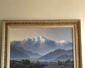 Landscape painting by Artist Darwin Taylor (1921-1975).  Most of his paintings are of the desert and mountains around Palm Springs.  The frame is wood and custom framed.  The item is numbered #14414, acrylic on canvas.  Called 'Landscape'.  The frame is 44 inches W X 32 inches H.  The painting itself measures 36 inches W X 24 inches H.  This item has a Reserve bid of $99.  Should the Reserve bid not be met the Seller may consider other offers.