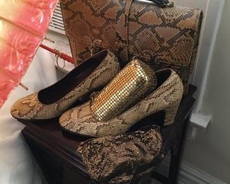 Snakeskin pumps shoes bags purses.