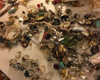 Sterling, rings, jewelry, vintage pearls, some gold