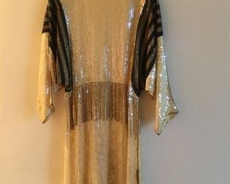 Sequin vintage 80's dresses cut on bias with dolman sleeves. (Comes with belt. Not shown.)