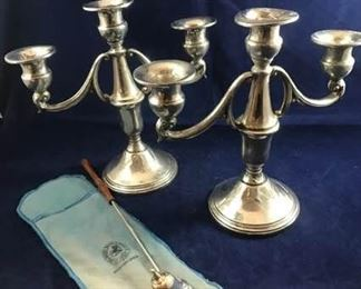 Sterling Silver Triple Candle Sticks and Snuffer
