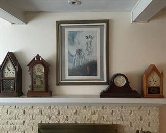 Antique mantle clocks.