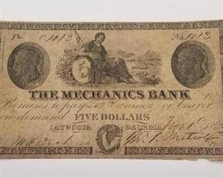 1853 Mechanics Bank Augusta, GA Five Dollar Broken Bank Note