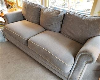 Neutral Grey/Blue Overstuffed Sofa in great condition.