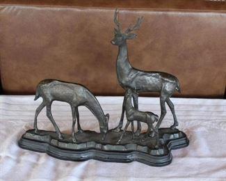 Brass statue of deer family