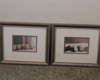 Framed pictures of fruit