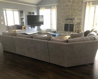 Lovely like new contemporary gray sectional sofa
