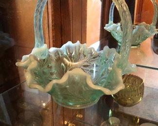 Fenton Aqua iridescent opalescent art glass basket