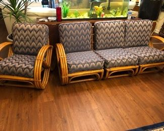 Vintage bamboo sectional and chair. Sofa breaks up into 3 pieces.