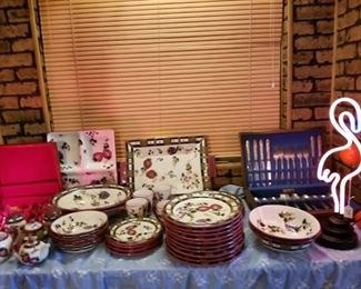 Nice large set of dishes, and silverware kitchen items