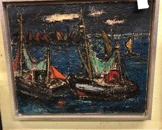 Several pieces of listed art work by well known painters! Herbert DeViess, Belgian circa 1960