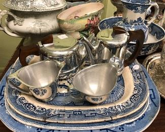 19th Century Blue willow platters