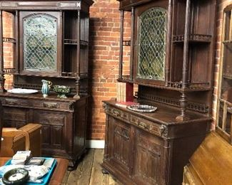 Pair of Large oak Hunt Cabintest with leaded stain glass circa 1900