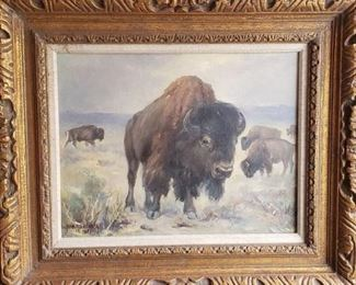 "Juan Menchaca: Bison ""6 Footer"". Menchaca was the Chief of Exhibits Preparation at the Colorado Historical Society. https://ctbids.com/#!/description/share/314408"