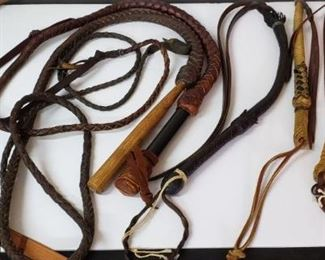 Bull Whip, Crop Whip, and Quirt Whips. Six individual items. One of the quirt whips has horse hair on it. https://ctbids.com/#!/description/share/314538