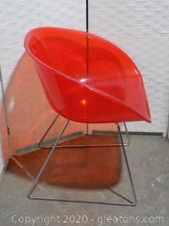 Red Italian Lucite Chair