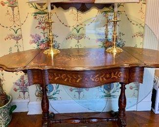 vintage inlaid drop leaf table