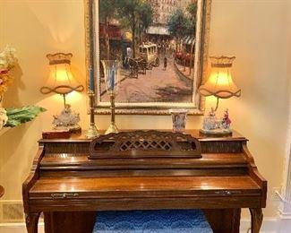 Upright piano.  Framed original art by W. Eddie.
