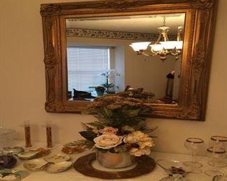 Framed wall mirror w/ beveled edge.