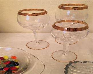 3 pieces gold rim crystal stemware