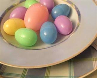 Pretty Easter Spring dishes.  Plaid - Maker is Studio Nova!