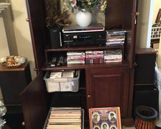 albums, tv cabinet, dvd's, cd's