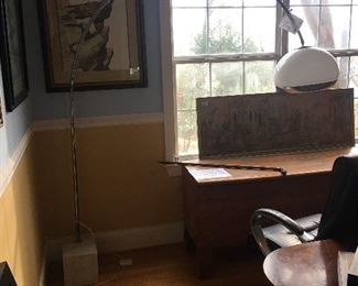 This arc lamp has a marble base that must weigh at least 80 pounds! It works and super chic!