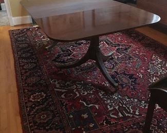 Large Dining table with leaf and large oriental.