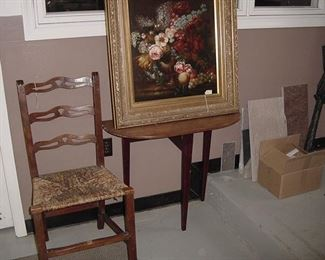 period country Chippendale chair and painting