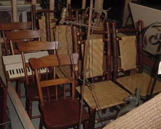 set of 4 19th century chairs and set of 6 Old Hickory dining chairs