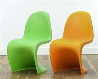 Pair Of Verner Panton Mid Century Atomic Age S-Chairs