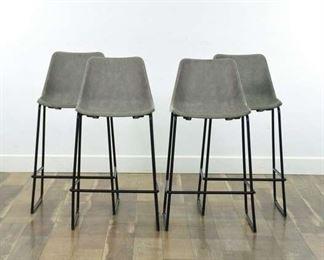 Set Of 4 Modernist Stone Gray Bar Stools