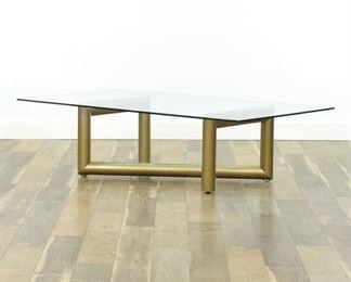 Modernist Brass Tube Coffee Table W Glass Top