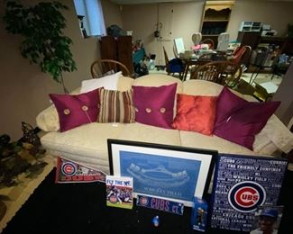 Cubs memorabilia and couch