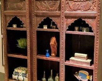 Amazing Carved Wood Indian Bookshelf