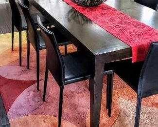Beautiful  Room & Board Bamboo  Dining Table and 8 Amazing Italian  leather  chairs