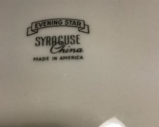 Syracuse Evening  Star China set of 8 dinner plates, salad plates , cup & saucers, sugar/creamer very retro .$78 for all